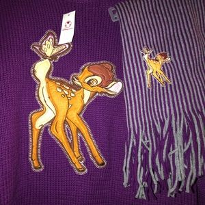 New Disney Store Bambi sweater and matching scarf